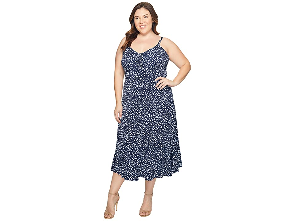 MICHAEL Michael Kors Plus Size Quinn Lacing Slip Dress (Cloud) Women