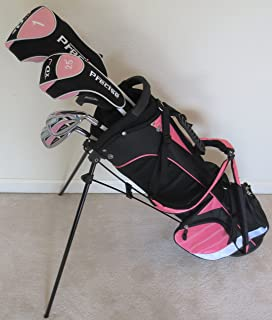 Girls Junior Golf Club Set with Stand Bag for Kids Ages 8-12 Pink Color Right Handed