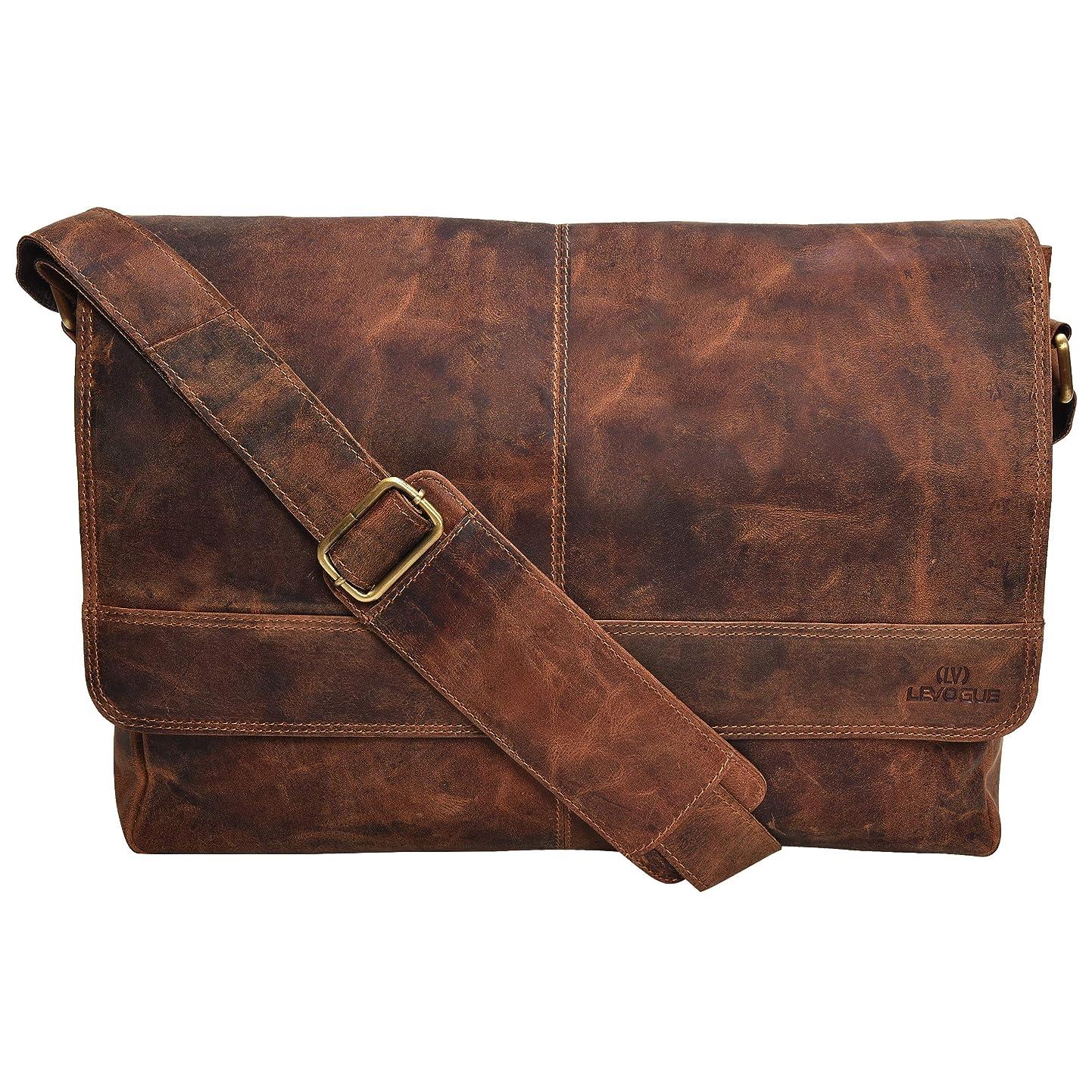 Genuine Leather Messenger Bag for Men and Women - 14 inch Laptop Bag for College Work Office by LEVOGUE (COGNAC VINTAGE) bkotlpigiqx4