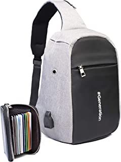 Sling Bag - Small Safety Crossbody Backpack with USB charging port and Headphones slot