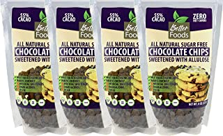 Sugar Free Chocolate Chips Sweetened With Allulose (Keto, Zero Net Carbs, Great for Diabetics, No Artificial Sweeteners, No Sugar Alcohol, No Stevia, Gluten Free, Soy Free, Vegan, Non-GMO) (4 Pack)