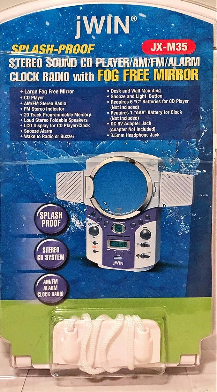 ワイントリクル無謀Jwin jx-m35?CD Player with AM / FMラジオ、アラーム時計フォグFreeミラー。Water Resistant