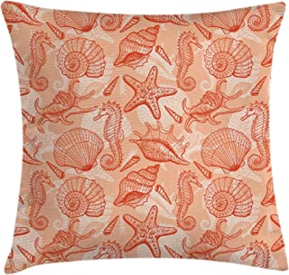 Ambesonne Coral Decor Throw Pillow Cushion Cover by, Nautical Marine Sea Mix Collection with Seahorse Shells Starfish Ocean Summer Theme, Decorative Square Accent Pillow Case, 16 X 16 Inches, Orange