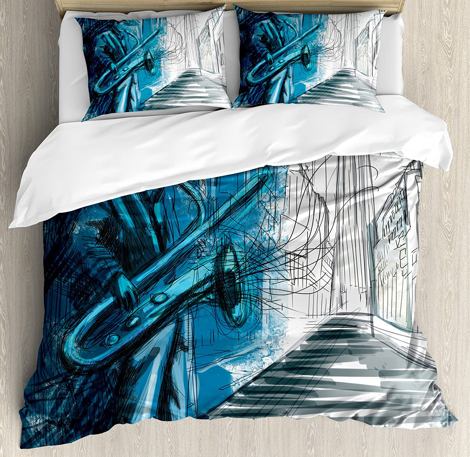 Ambesonne Music Duvet Cover Set Queen Size, Saxophone Man Playing Solo in Street at Night Vibes Grunge Design Print, Decorative 3 Piece Bedding Set with 2 Pillow Shams, Dark bluee Black White