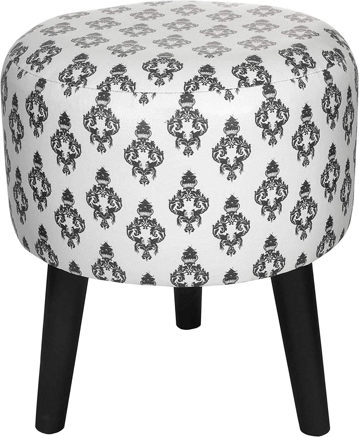 Oriental Furniture CAN-STL-BWDAM-B White Damask Stool, Multicolord