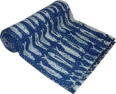 Yuvancrafts Indian Cotton Handmade Kantha Quilt Hand Block Fish Print Queen Quilt Blanket Bedspreads Throw (Twin Size)