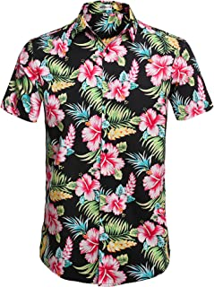 Men's Hawaiian Aloha Shirt Short Sleeve Tropical Floral Print Button Down Shirt