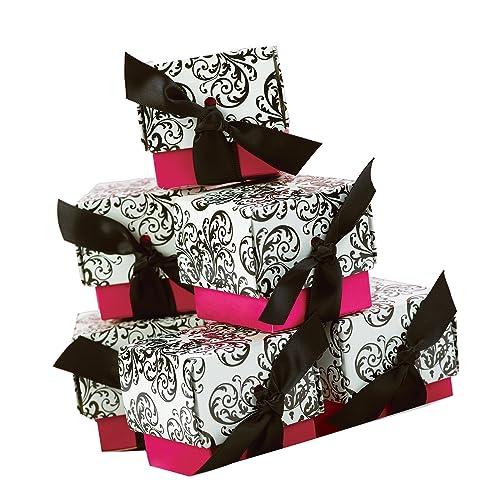 Hortense B. Hewitt Wedding Accessories 2-Piece Favor Boxes, Fuchsia Filigree, Pack of 25