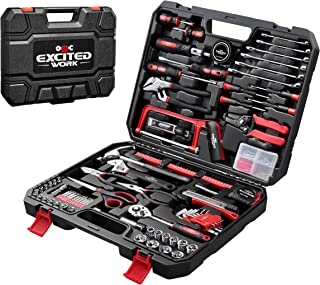 198-Piece Household Tool Set,EXCITED WORK General Home/Auto Repair Hand Tool Kit with Hammer, Pliers, Wrenches, Sockets an...