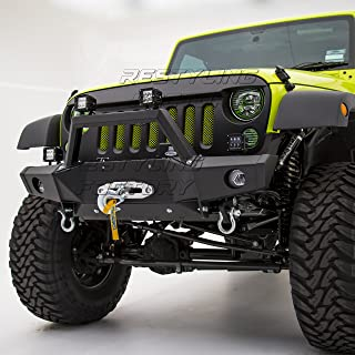 Restyling Factory -Super Rock Crawler Front Bumper With OE Fog Light Hole & Built In Winch Plate & 2x D-Ring for 07-17 Jeep Wrangler JK
