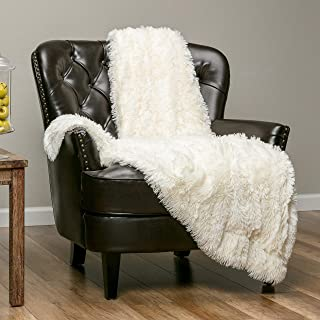 Chanasya Super Soft Shaggy Longfur Throw Blanket | Snuggly Fuzzy Faux Fur Lightweight Warm Elegant Cozy Plush Sherpa Microfiber Blanket | for Couch Bed Chair Photo Props -(60x70)- Ivory White