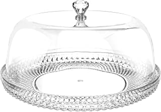 12 Inch Clear Food Grade Acrylic Diamond Pattern Cake Dessert Platter with Cloche Bell Cover