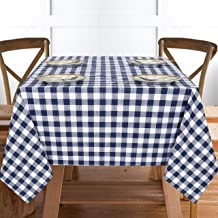 """Ruvanti Table Cloth (60X104"""") 8-10 Seats. Wrinkle Free 100%Cotton Rectangle Tablecloth Washable/Reusable. Navy Blue & White Buffalo Check Plaid Table Cloths. Table Cover for Home & Commercial Use."""