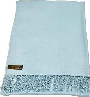 CJ Apparel Baby Blue Solid Color Design Nepalese Shawl Seconds Scarf Wrap Stole Throw Pashmina NEW