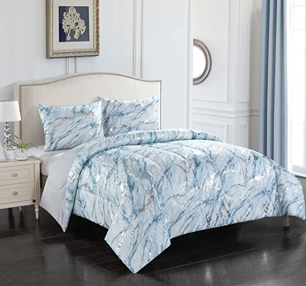Pop Shop Marble 2 Piece Comforter Set Twin Silver