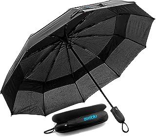 Zooblu WindFarer Travel Umbrella - Windproof - Compact - Heavy Duty - Auto Open and Close - with Case