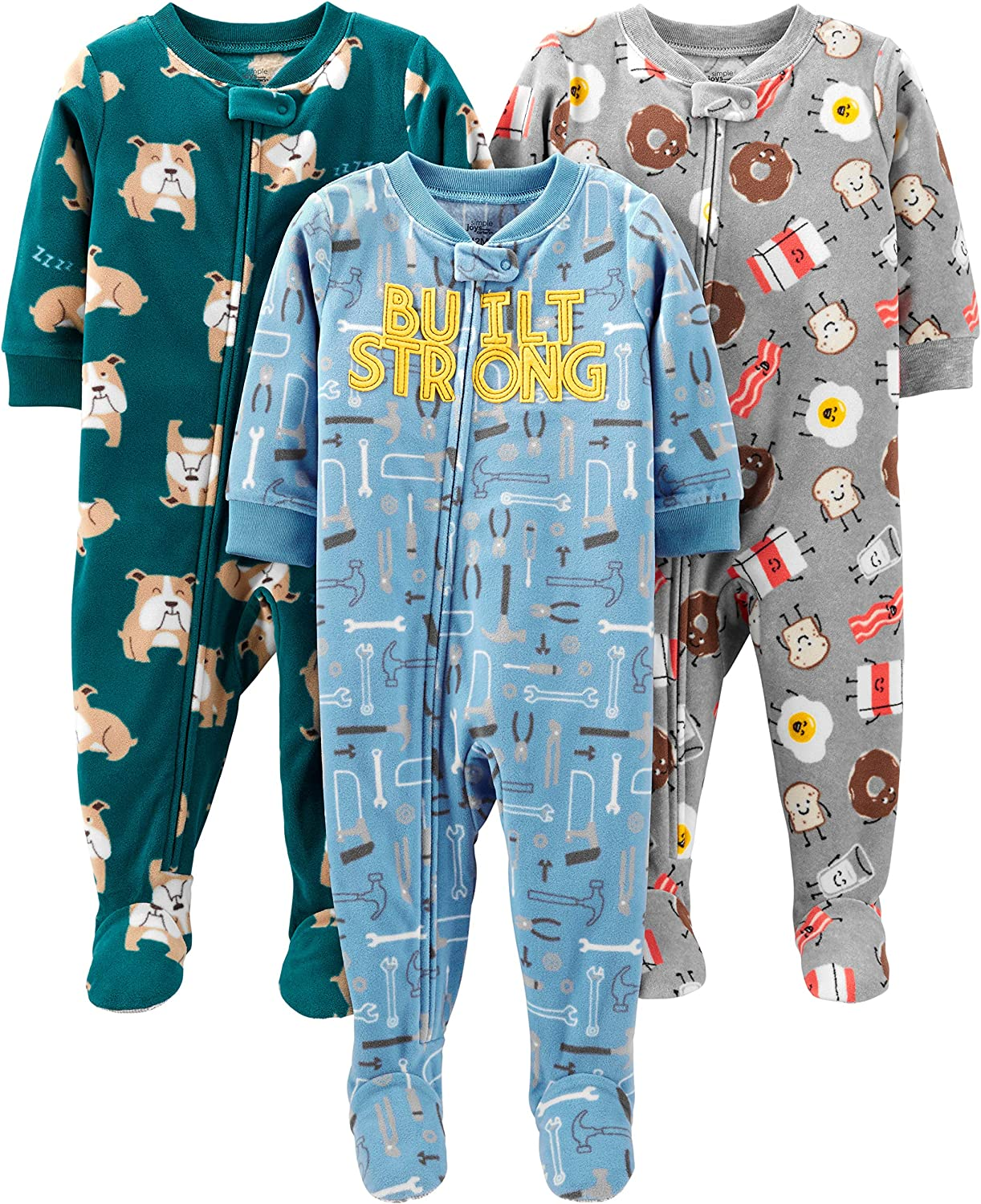 Simple Joys by Carters 3-Pack Loose Fit Flame Resistant Fleece Footed Pajamas Bimbo 0-24 Pacco da 3
