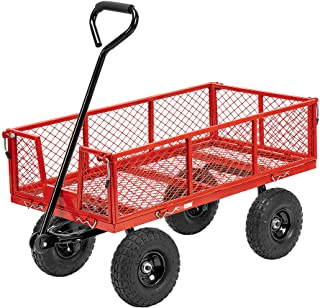 VIVOHOME Heavy Duty 1100 Lbs Capacity Mesh Steel Garden Cart Folding Utility Wagon with Removable Sides and 10 Inch Wheels...
