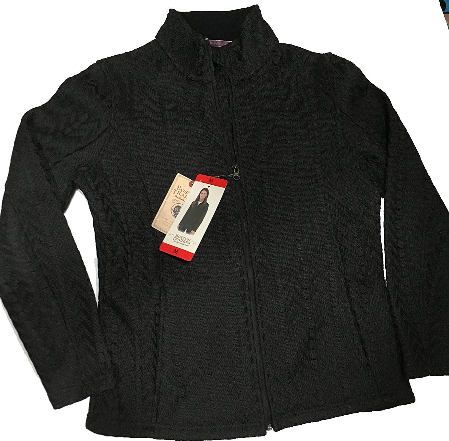 Boston Traders Women's Fleece Lined Cable Knit Sweter Jacket