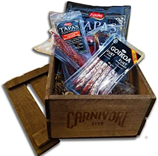 Carnivore Club Meat Gift Crate (Gourmet Food Gift) - 4 to 6 Artisan Cured Meats - Food Basket - Comes in a Handcrafted Woo...