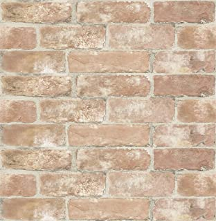 InHome NHS3203 Old Town Brick Peel & Stick Peel and Stick Wallpaper, Red