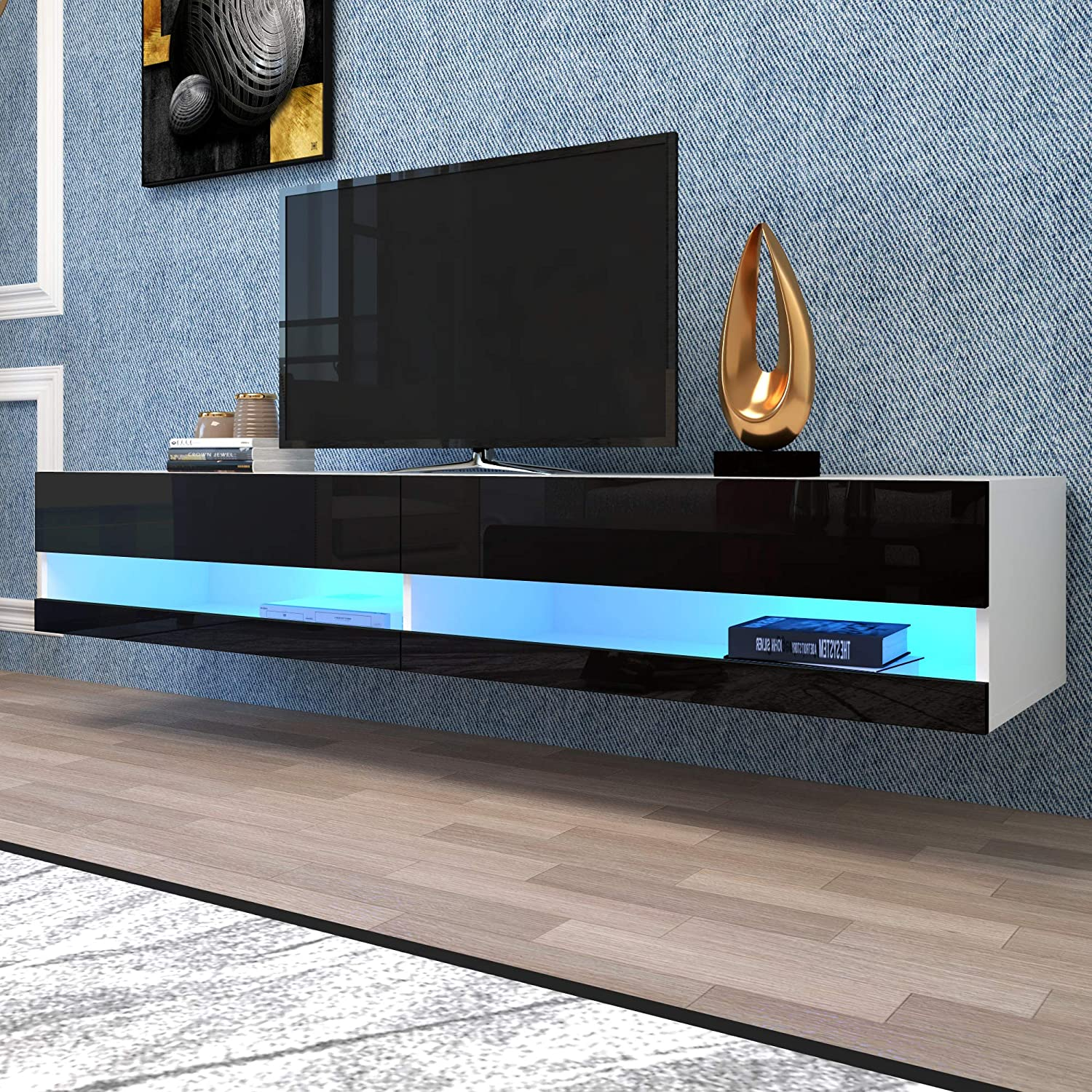 CIPACHO TV Stand LED Effects Wall Mounted Entertainment Center Living Room Floating Console Table (Black A)