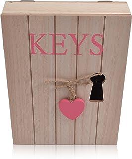 CHICCIE Armoire à clés en bois avec cœur rose - 6 crochets - 24 cm x 18 cm x 5 cm (H x l x P) - Style maison de campagne v...