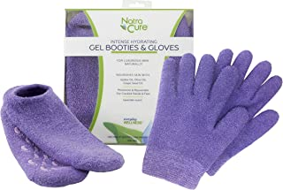 NatraCure Moisturizing Gel Booties and Gloves Set - (For dry skin, dry hands and feet, cracked heels, cuticles) - Color: Lavender