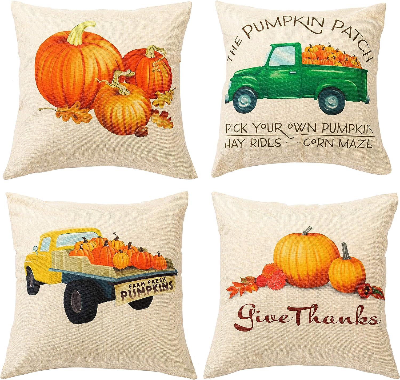 JOYIN Ranking TOP8 Fall Pillow Covers 4 Packs T Harvest Ranking TOP13 Pumpkin 18x18 Inches