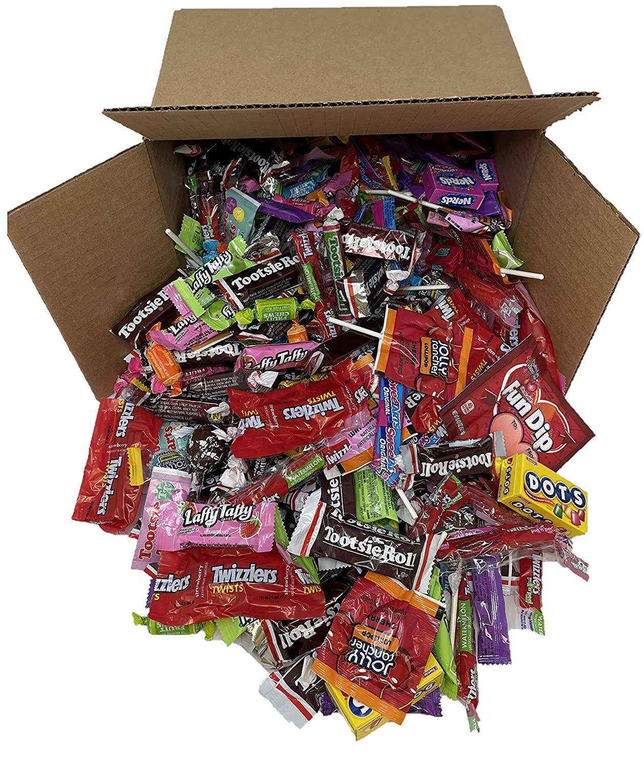Assorted Bulk Candy, Individually Wrapped: 5 LB Box Variety Pack with Tootsie Rolls, Tootsie Pops, Assorted Laffy Taffy's, Dots, Twizzlers, Assorted Jolly Rancher & More! Great for Holiday and Party Treats
