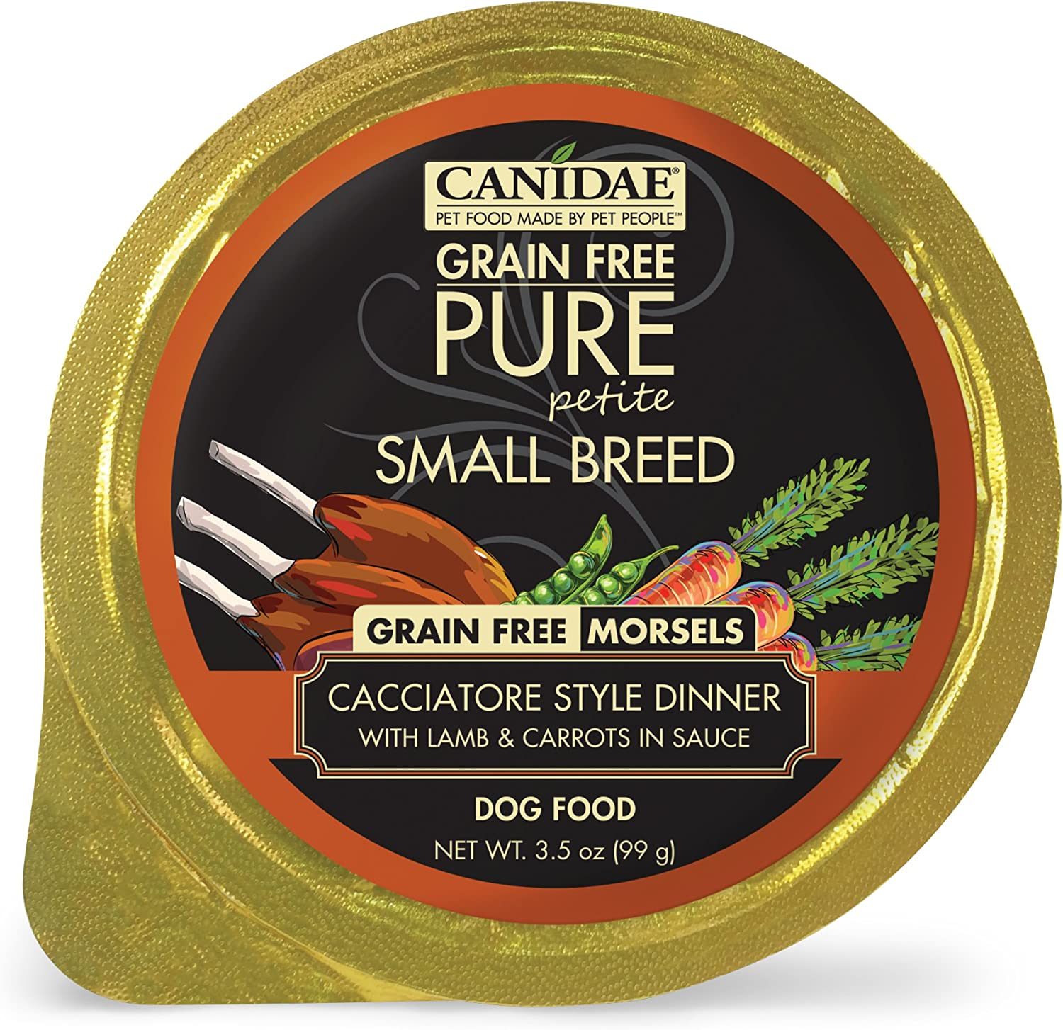 Canidae Pure Petite Small Breed Dog Cup Morsels with Lamb & Carreds (12 Pack), 3.5 Oz