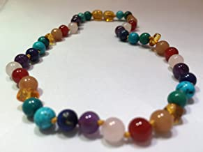 Baltic Amber Pre-Teen Child Big Kid 14 inch Necklace Rainbow Honey Amber Pink Rose Quartz Red Agate Aventurine Cyrsocolla