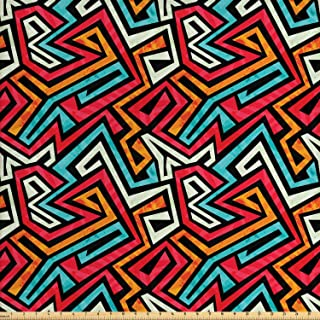 Lunarable Tribal Fabric by The Yard, Funky Groovy Grunge Graffiti Style Avant Garde, Decorative Fabric for Upholstery and Home Accents, 3 Yards, Coral Orange