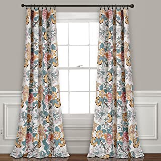 "Lush Decor Sydney Curtains | Floral Garden Room Darkening Window Panel Set for Living, Dining, Bedroom (Pair), 84"" x 52"", Blue and Yellow, 84"