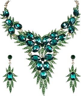 Women's Wedding Bridal Crystal Multi Oval-Shape Flower Leaf Enamel Statement Necklace Dangle Earrings Set