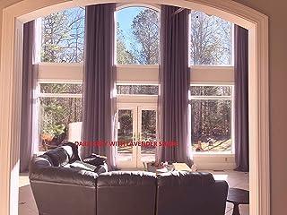 Ikiriska Extra Long Sheer Voile Curtains (2 Panels) for high Ceiling, Custom Made Length 12, 14, 15, 16, 17, 18, 20 24 feet Long, Wide Drapes for 2 Story Living Room (Dark Grey)