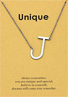 Zealmer Big Stainless Steel Script Initial Letter Necklace for Women Girls A-Z Gold & Silver Tone