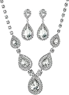 Miraculous Garden 2 Pack Jewelry Set Gifts for Womens Girls,Womens Silver Plated Teardrop Crystal Rhinestone Necklace Drop Dangle Earrings Set,Wedding Bridesmaid Party Birthday Prom Jewelry.