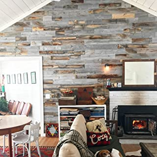 Stikwood Reclaimed Weathered Wood, Silver Gray/Brown, 20 Square Feet - Easy Peel and Stick Application