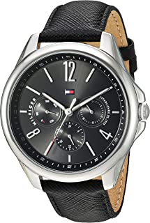 Women's Casual Sport Stainless Steel Quartz Watch with Leather Strap, Black, 18 (Model: 1781822)