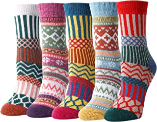 ZMART 5 Pairs Women Wool Socks Warm Cabin Nordic Vintage Socks Thick Knit Cozy Winter Socks for Women Gifts