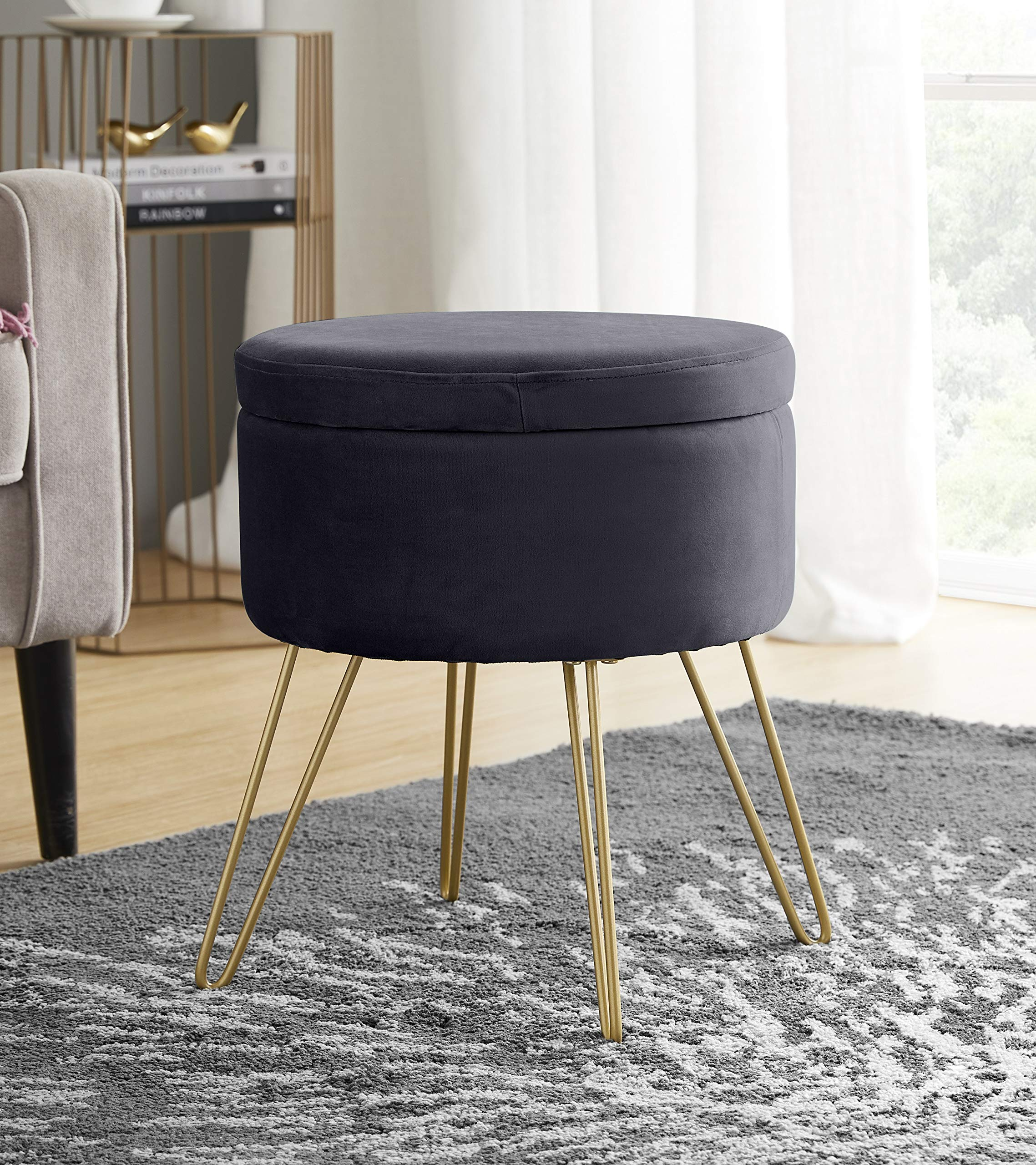 Ornavo Home Modern Round Velvet Storage Ottoman Foot Rest Stool Seat With Gold Metal Legs Tray Top Coffee Table Grey Kitchen Dining