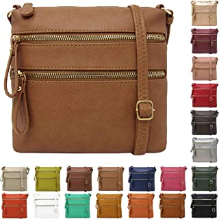 Solene Crossbody Purse Bag Functional Multi Pocket Double Zipper Purse Adjustable Strap
