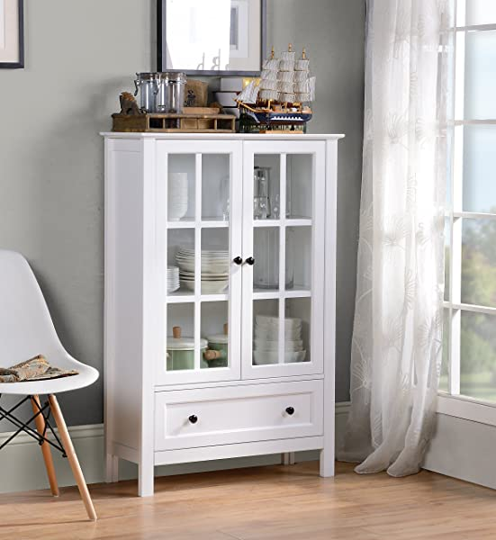 HOMESTAR Miranda Caninet With 2 Doors 1 Drawer Glass White