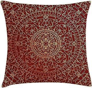Mesllings - Funda de cojín con diseño de mandala oriental inspirado en mandala marroquí étnico, decorativo, cuadrado, 40 x 45 cm, color dorado