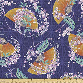 Lunarable Japanese Fabric by The Yard, Wisteria Flowers Kimono Pattern on a Geometric Background Traditional, Decorative F...