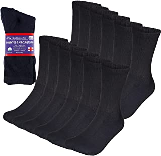 Special Essentials 12 Pairs Diabetic Socks Crew Physicians Approved Navy Unisex (Navy, 13-15)