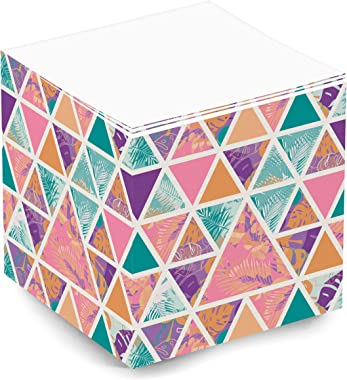 Tropical Beach Cute and Trendy Blank Note Memo Cube for Teen Girls and Women. 500 Sheet 3.5x3.5x3.5 Inch Sticky Note Cube for