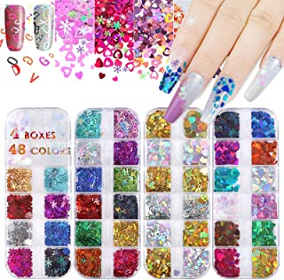 4 Boxes Holographic Nail Glitter Sequins 48 Colors, Nail Glitters Flakes 4 Patterns Heart Letter Snowflake Glitter for Nai...