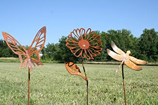 Rustic Garden Stake Set -Butterfly, Daisy, Dragonfly